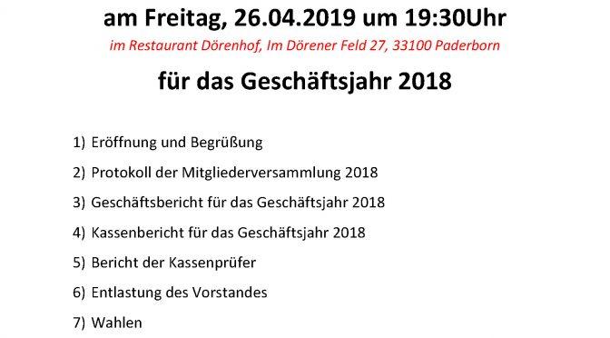 Mitgliederversammlung für das Rechnungs- und Geschäftsjahr 2018