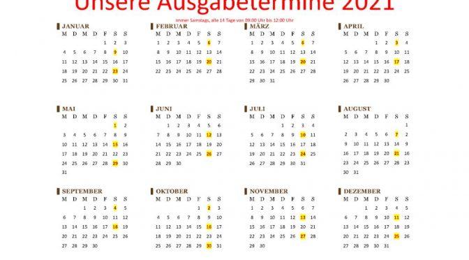 AUSGABESTELLE WIEDER 14-TÄGIG GEÖFFNET